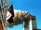 Smoke Pours From The World Trade Center After Being Hit By Two Planes September 11 2001 In New York City