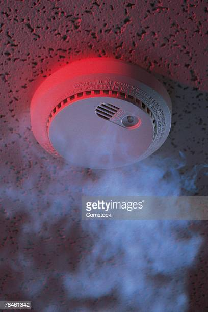 Smoke reaching smoke alarm on ceiling