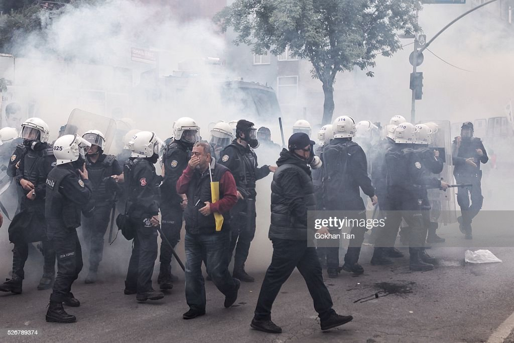 Smoke rises above as anti-riot police attempt to disperse protesters at a May Day rally in Istanbul's Bakirkoy district on May 1, 2016 in Istanbul, Turkey. Turkish police used tear gas and water cannon to disperse protesters as they tried to make their way to Taksim Square and other protest points.