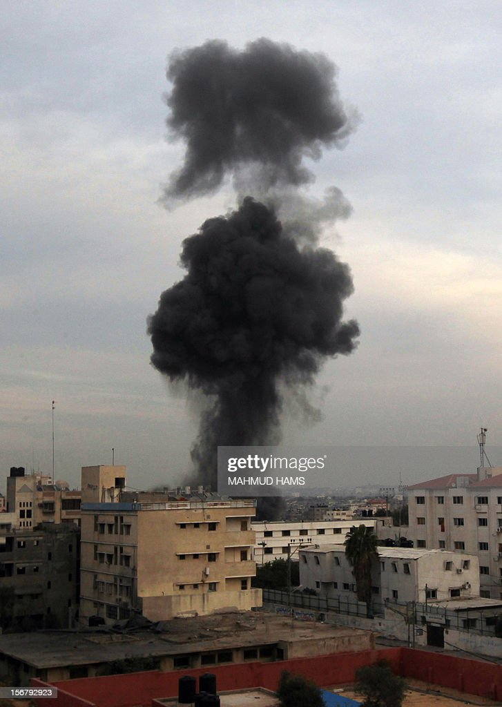 Smoke rises after an Israeli air strike on Gaza City on November 21, 2012. UN Secretary General Ban Ki-moon arrived in Cairo for talks with President Mohamed Morsi, the Egyptian leader's office said, amid efforts to broker a truce in Gaza.