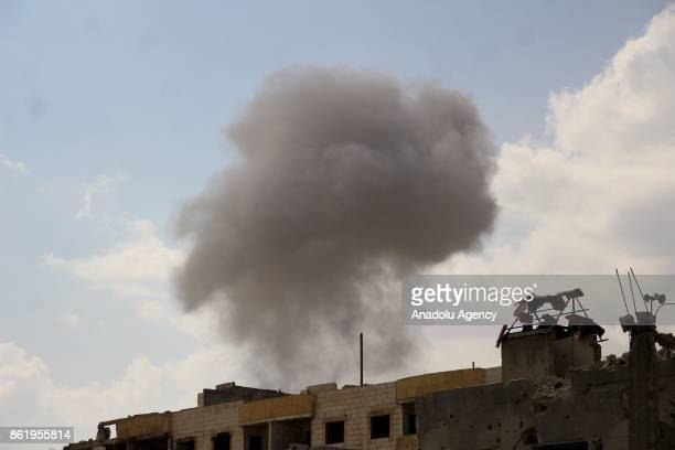 Smoke rises after Assad regime's airstrikes hit residential areas of the deconflict zone in Ein Tarma town of Eastern Ghouta of Damascus Syria on...