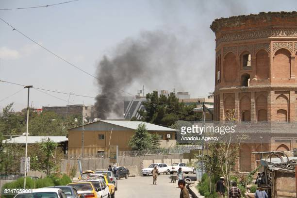 Smoke rises after bomb laden vehicle targeted Iraqi embassy in Kabul Afghanistan on July 31 2017