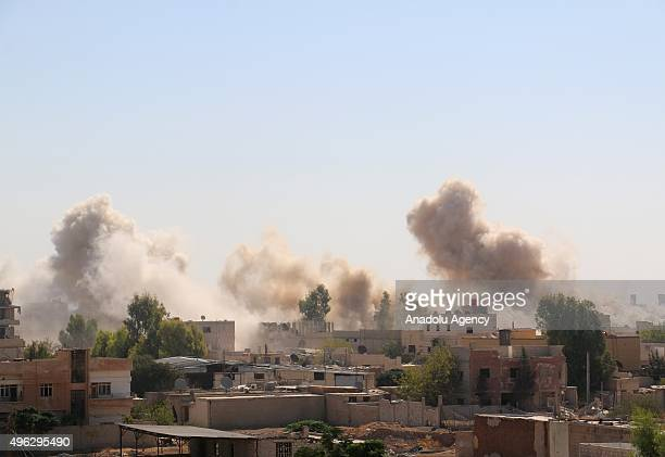 Smoke rises after Syrian army warplanes attacking to Dareyya district in Eastern Ghouta Damascus Syria on November 08 2015