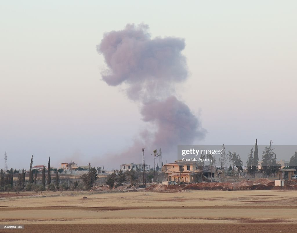 Smoke rises after Syrian opposition forces attack Asad forces at Melah region in Aleppo, Syria on June 29, 2016.