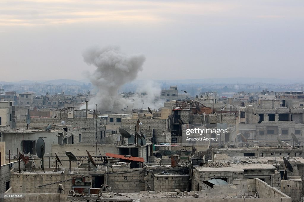 Smoke rises after the war crafts belonging to the Russian Army carried out airstrikes on oppositioncontrolled Douma Zemelka Cobar Hamuriye and Arbin...