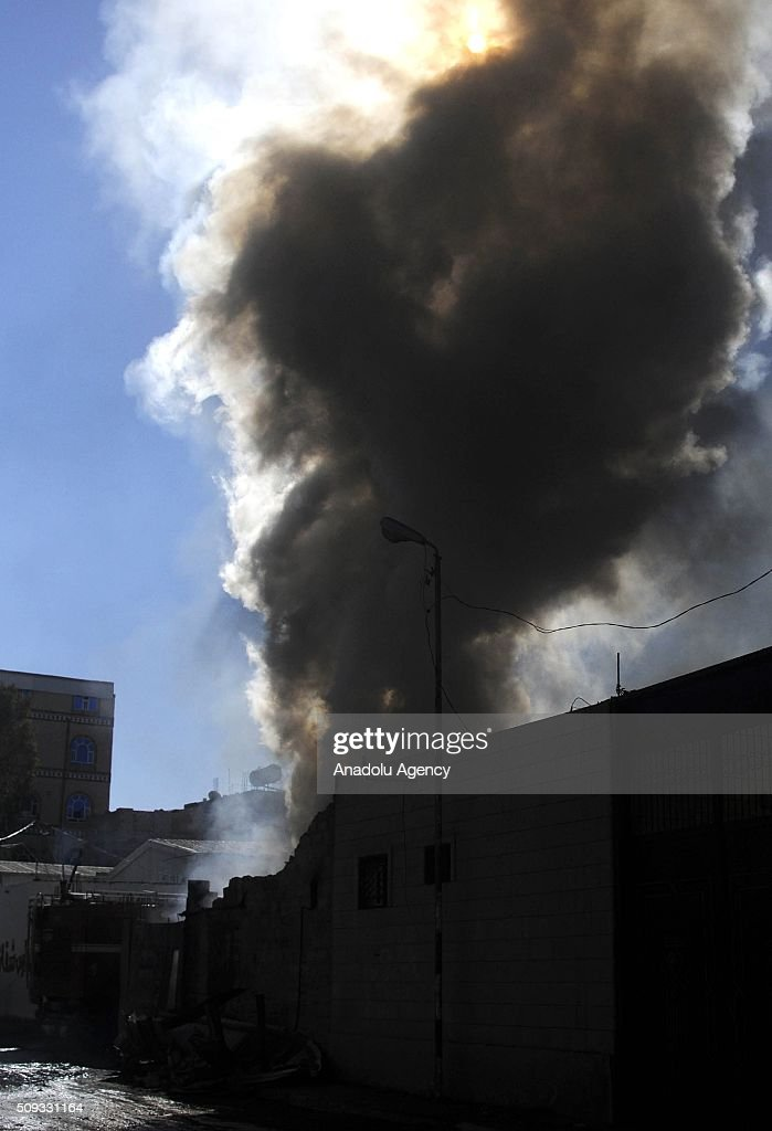 Smoke rises fire after the war crafts belonging to the Saudi-led coalition carried out airstrikes at Beit al-Miad district of Sanaa, Yemen on February 10, 2016.
