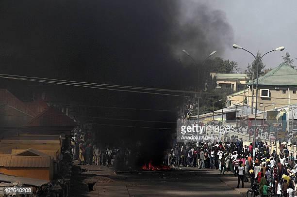 Smoke rises following a suicide attack carried out at a marketplace in Gombe Nigeria on February 1 2015