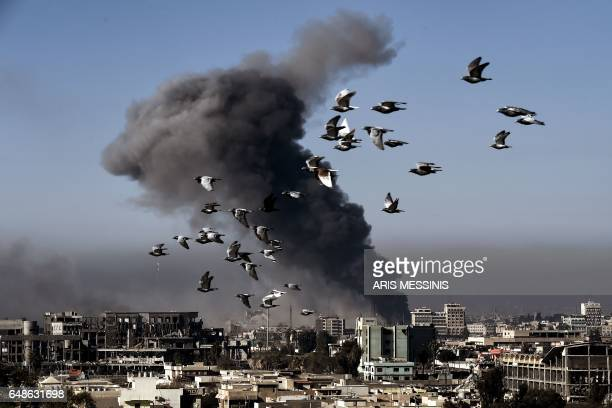 TOPSHOT Smoke rises following an airstrike in western Mosul on March 6 during an offensive by Iraqi forces to retake the western parts of the city...