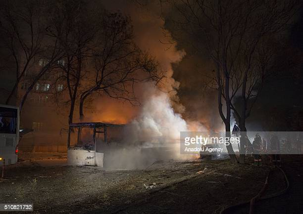 Smoke rises from a burning bus after an explosion at Merasim street on the intersection of Inonu Boulevard and Dikmen avenue in Turkey's capital...
