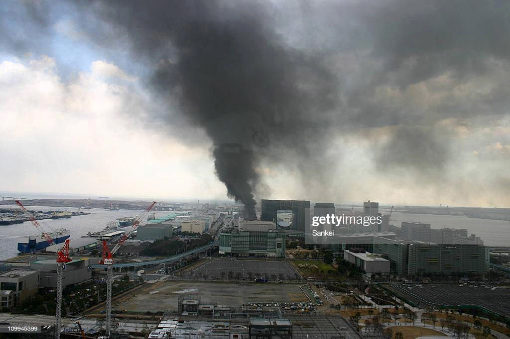 Smoke rises from a construction site following an earthquake on March 11, 2011 in Tokyo, Japan. A magnitude 8.9 Richter scale earthquake hit the northeast coast of Japan causing tsunami alerts throughout countries bordering the Pacific Ocean.