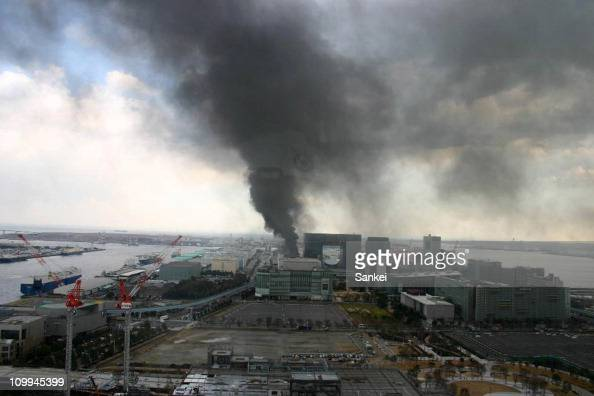 Smoke rises from a construction site following an earthquake on March 11 2011 in Tokyo Japan A magnitude 89 Richter scale earthquake hit the...