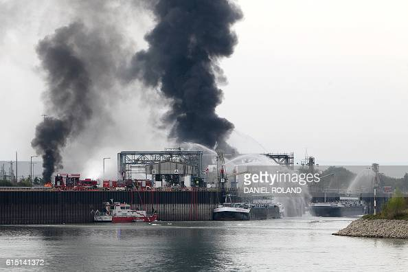 Smoke rises from the Chemical plant of the BASF site in Ludwigshafen western Germany on October 17 2016 Several people were missing and others were...