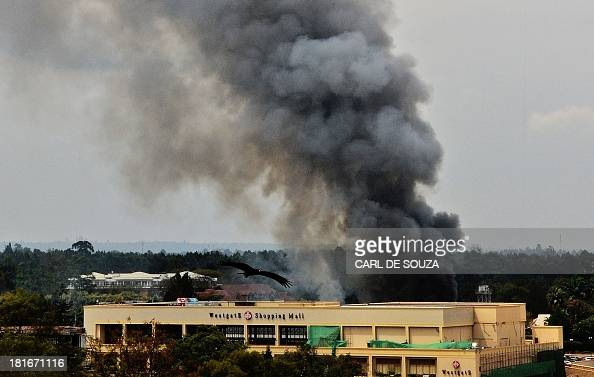 Smoke rises from the Westgate mall in Nairobi on September 23 2013 Kenyan troops were locked in a fierce firefight with Somali militants inside an...