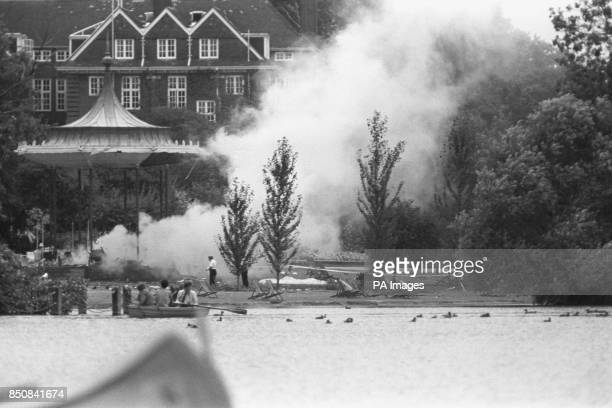 Smoke rises from the wreckage of the Regent's Park bandstand after today's bombing At least six people were killed in the blast which happened while...
