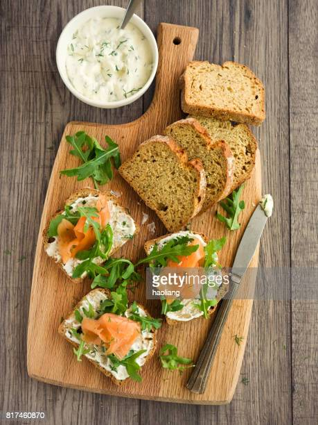 smoke salmon with herb sour cream open sandwich