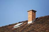 Roof detail, brick chimney