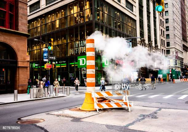 Smoke stake on a street of New York city.