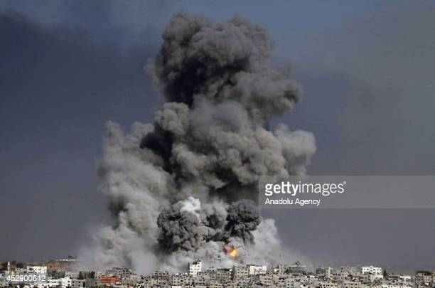 Smoke trails over Gaza city after Israeli shelling on July 29 2014 The new fatalities raise Gaza's death toll from Israel's war to 1216 since the...
