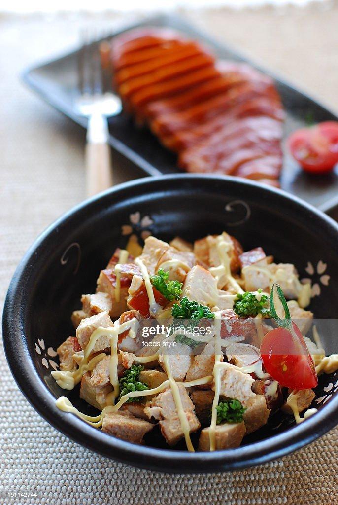 Smoked chicken salad : Stock Photo