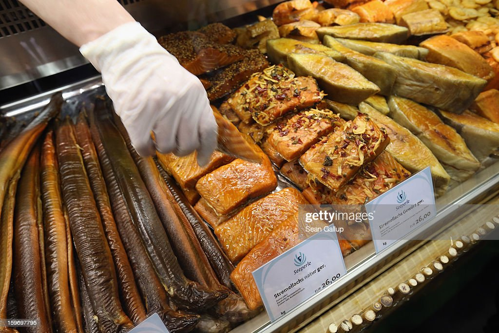 Smoked eel, salmon and other fish lie on display at a stand at the 2013 Gruene Woche agricultural trade fair on January 18, 2013 in Berlin, Germany. The Gruene Woche, which is the world's largest agricultural trade fair, runs from January 18-27, and this year's partner country is Holland.