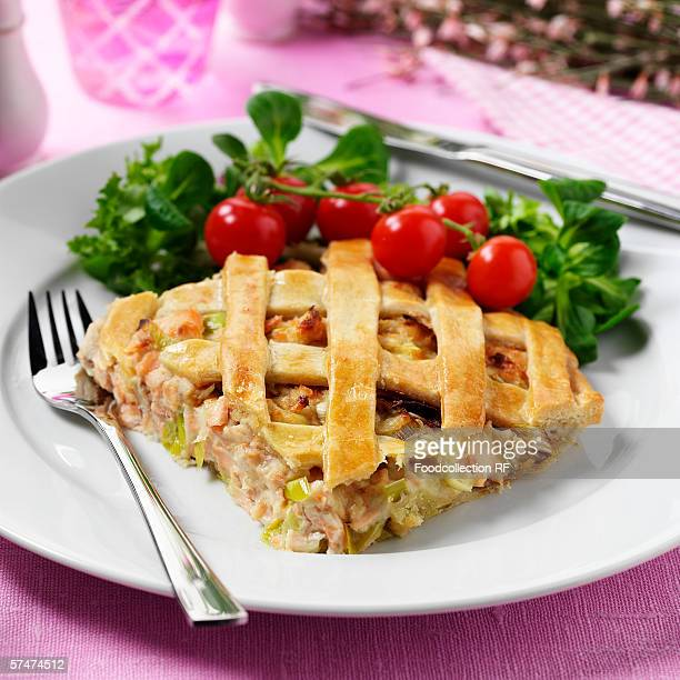 Smoked fish and leek pie