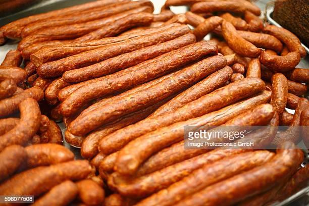 Smoked Hungarian Sausages on Display at Market