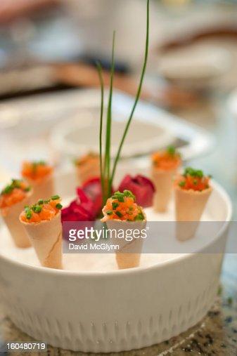 Smoked salmon appetizer : Stock Photo