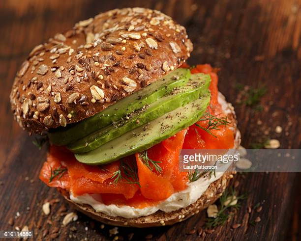 Smoked Salmon Bagel with Cream Cheese and Avacoda
