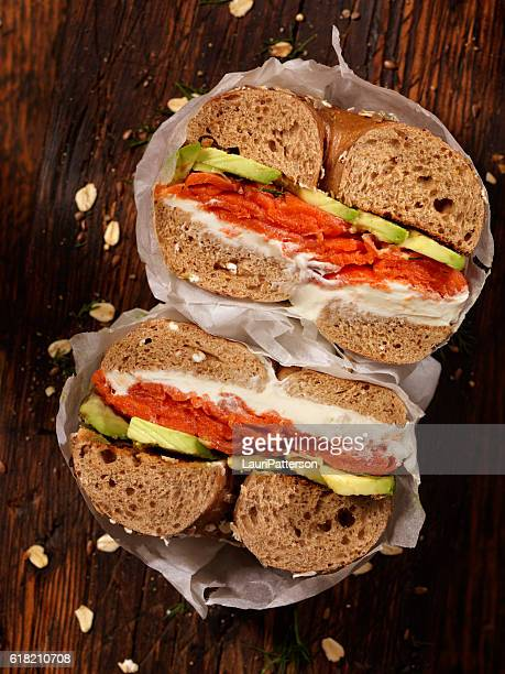 Smoked Salmon Bagel with Cream Cheese and Avocado