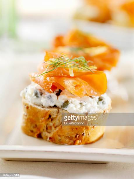 Smoked Salmon Canapes on a Baguette with Cream Cheese