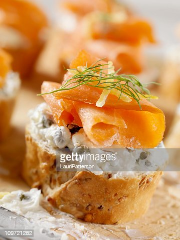 Smoked Salmon Canapes on a Baguette with Cream Cheese : Stock Photo