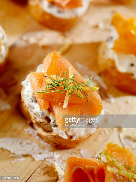 Salmon skin stock photos and pictures getty images for Smoked salmon cream cheese canape