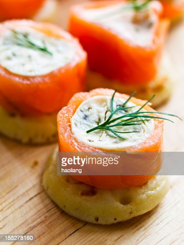Canape stock photos and pictures getty images for Smoked salmon canape