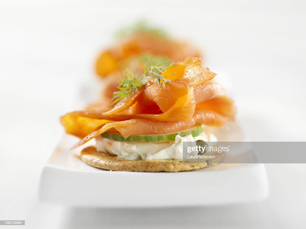 Smoked Salmon Canapes With Cream Cheese Stock Photo | Getty Images