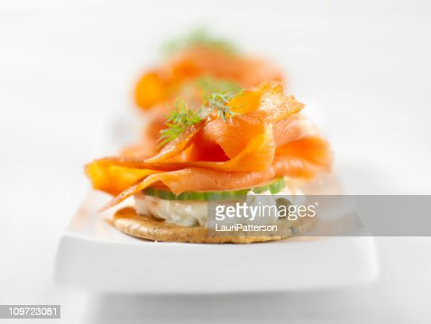 Smoked salmon canapes with cream cheese stock photo for Smoked salmon cream cheese canape
