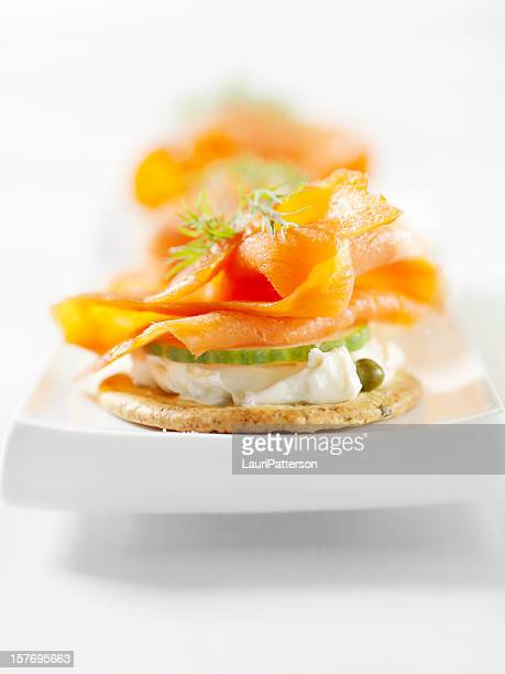 Canape stock photos and pictures getty images for Smoked salmon cream cheese canape