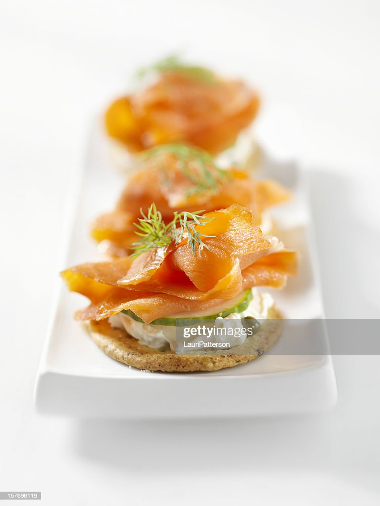 Smoked salmon canapes with cream cheese stock photo for Cream cheese canape