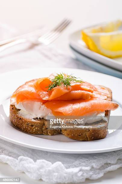 Smoked salmon on a bread