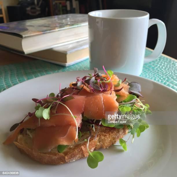 smoked salmon on toast