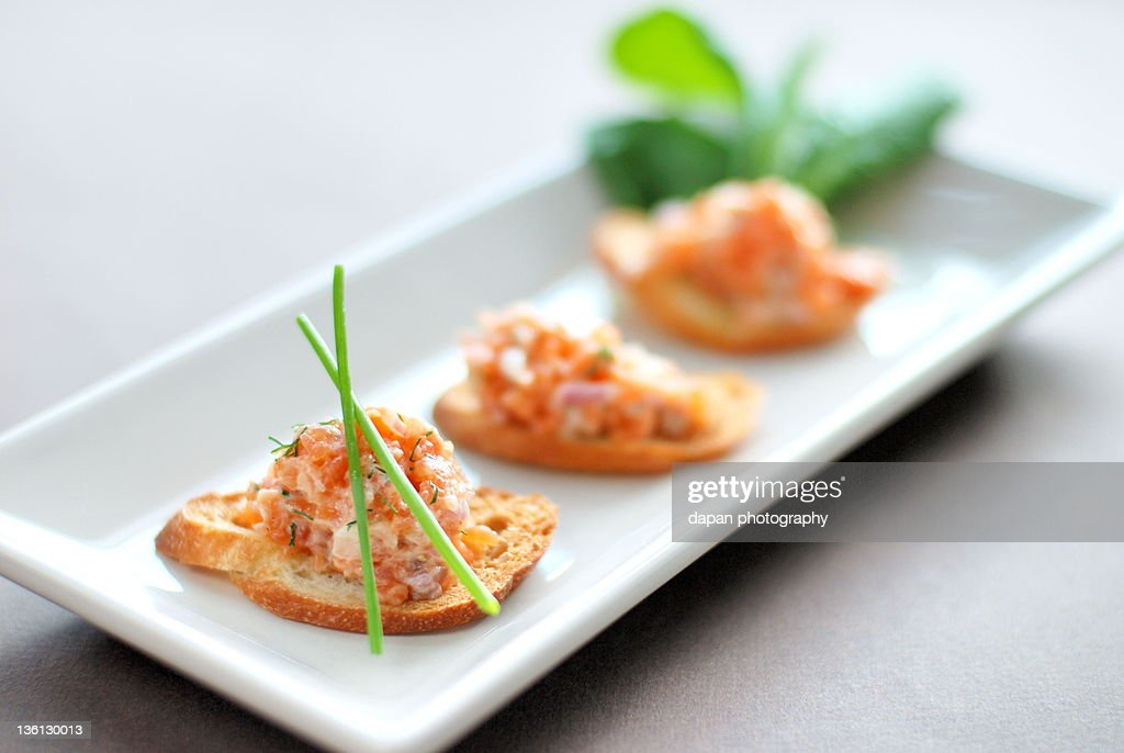 Smoked salmon tartar : Stock Photo
