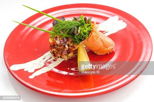 Smoked salmon with salad : Stock Photo