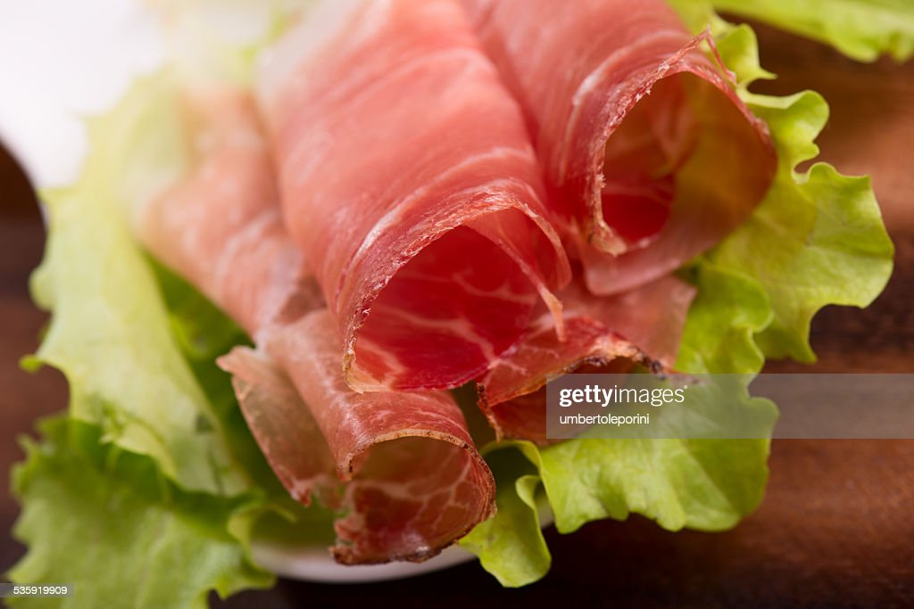 smoked speck prosciutto : Stock Photo