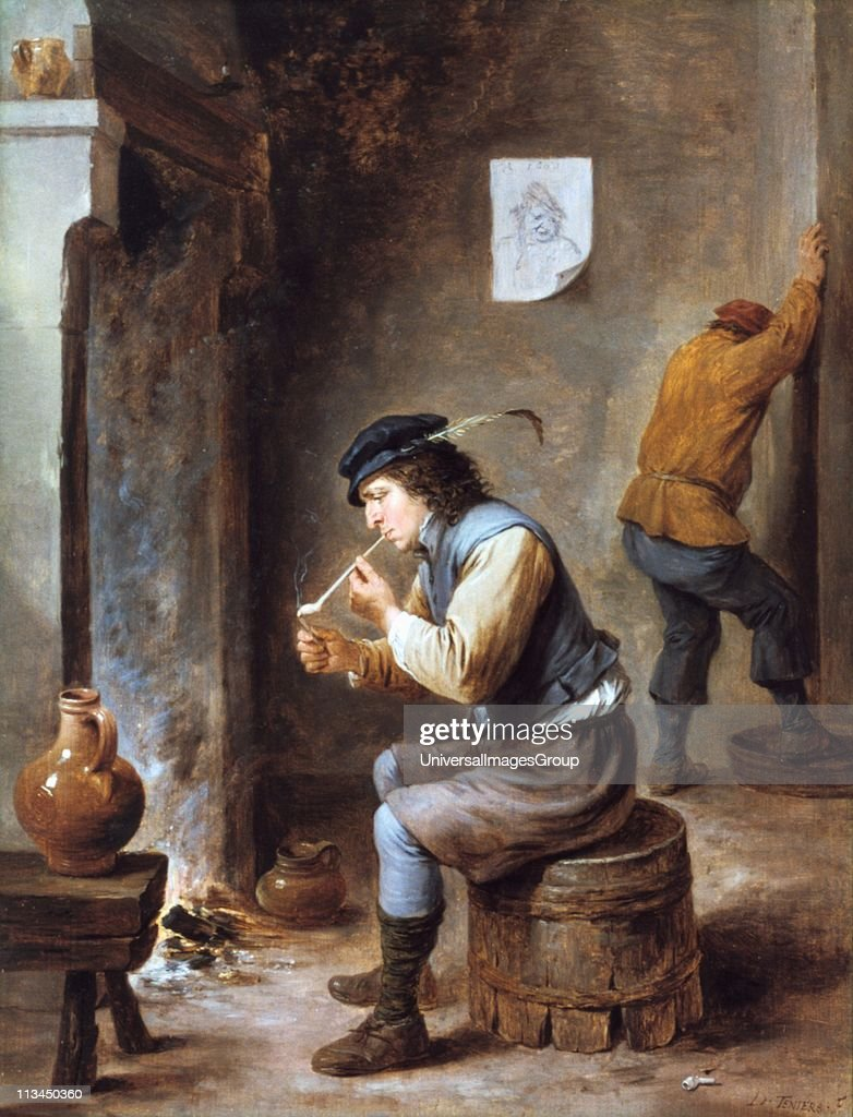 smoker in front of a fireplace painting by david teniers the
