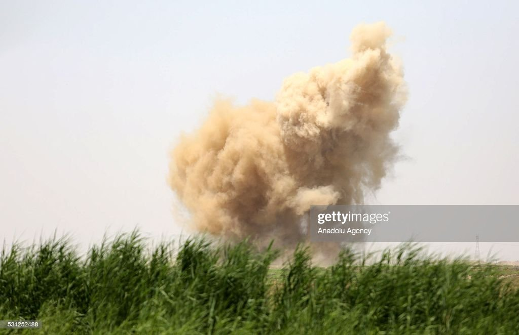 Smokes rises as Iraq security forces carry operations to rescue Felluce town from Daesh terrorists in Anbar, Iraq on May 25, 2016.