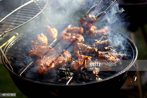 Smokey  barbecue chicken on a smokey