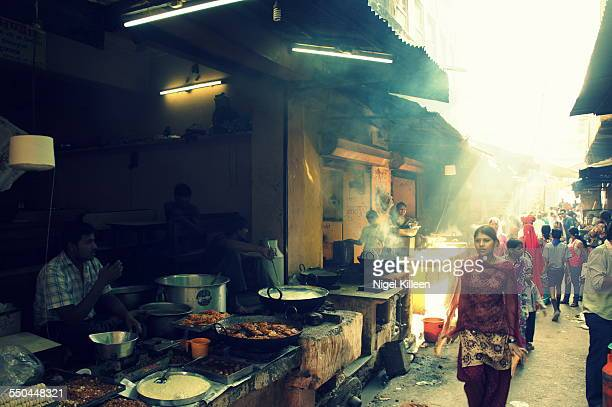A smokey Indian street food alley located in Pushkar Rahasthan India