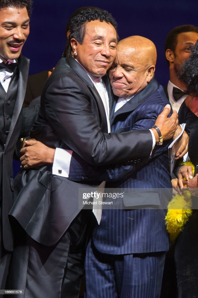 <a gi-track='captionPersonalityLinkClicked' href=/galleries/search?phrase=Smokey+Robinson&family=editorial&specificpeople=210698 ng-click='$event.stopPropagation()'>Smokey Robinson</a> (L) and <a gi-track='captionPersonalityLinkClicked' href=/galleries/search?phrase=Berry+Gordy+Jr.&family=editorial&specificpeople=1541919 ng-click='$event.stopPropagation()'>Berry Gordy Jr.</a> attend the Broadway opening night for 'Motown: The Musical' at Lunt-Fontanne Theatre on April 14, 2013 in New York City.