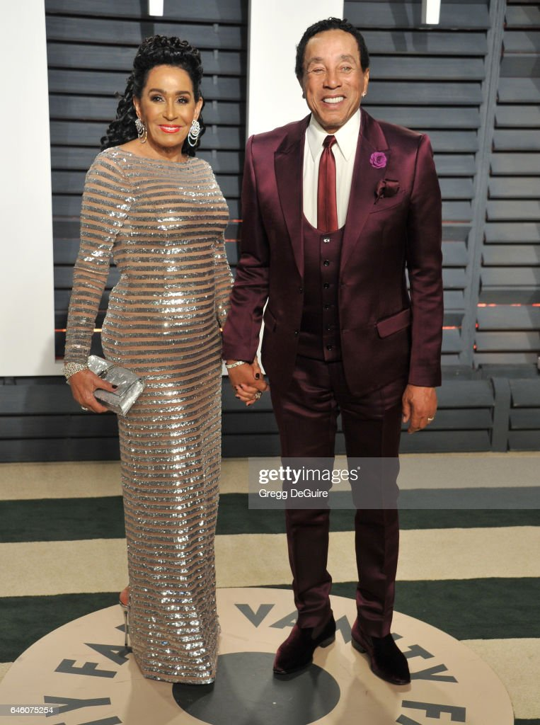 Smokey Robinson and Frances Robinson arrive at the 2017 Vanity Fair Oscar Party Hosted By Graydon Carter at Wallis Annenberg Center for the Performing Arts on February 26, 2017 in Beverly Hills, California.