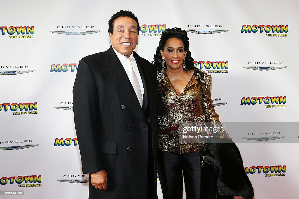 <a gi-track='captionPersonalityLinkClicked' href=/galleries/search?phrase=Smokey+Robinson&family=editorial&specificpeople=210698 ng-click='$event.stopPropagation()'>Smokey Robinson</a> and Frances Robinson attend the Broadway opening night for 'Motown: The Musical' at Lunt-Fontanne Theatre on April 14, 2013 in New York City.