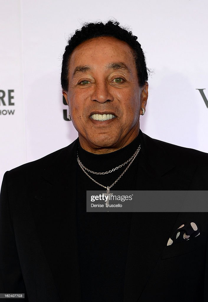 <a gi-track='captionPersonalityLinkClicked' href=/galleries/search?phrase=Smokey+Robinson&family=editorial&specificpeople=210698 ng-click='$event.stopPropagation()'>Smokey Robinson</a> arrives at '<a gi-track='captionPersonalityLinkClicked' href=/galleries/search?phrase=Smokey+Robinson&family=editorial&specificpeople=210698 ng-click='$event.stopPropagation()'>Smokey Robinson</a> Presents Human Nature: The Motown Show' opening at The Venetian on February 22, 2013 in Las Vegas, Nevada.